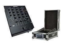 "Numark M4 3 Channel 10"" Inch Tabletop DJ Scratch Mixer Black Disco & Flightcase"