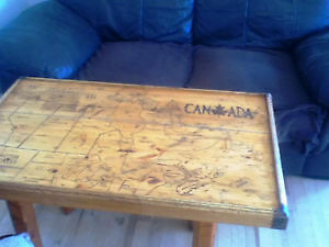 ANTIQUE coffee table with handmade map off Canada $ 80