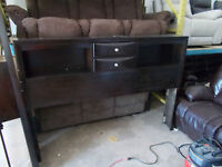 KING SIZE SOLID WOOD BOOKCASE HEADBOARD