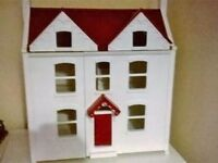 John lewis wooden dolls house with furniture