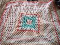 "New hand made crochet blanket 33"" square"