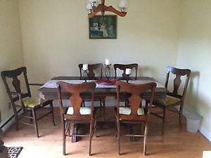 Genuine antique dining table,with six chairs