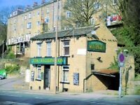 Burnt out pub for sale Halifax. Could be refurbished into Houses, flats, office or similar