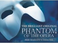 2x adult tickets for The Phantom of the Opera in the West End, London