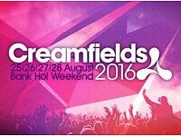 Creamfields 4 day gold camping ticket with car parking pass