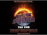 BLACK SABBATH TICKET 4TH FEB 2017 BIRMINGHAM GENTING ARENA