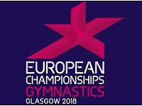 2 Tickets (Best Seats) European Men's Gymnastics APPARATUS FINAL SSE Hydro Glasgow, Sun12 Aug 2018