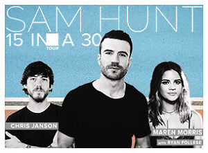 SAM HUNT 15 IN A 30 TOUR TICKETS FOR SALE
