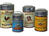 Vintage coffee, tea, flour sugar canisters