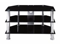 "Black glass chrome legs.tv stand for up to 32"" tv."