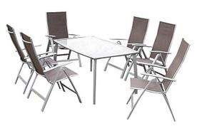 Merxx 7tlg. Carrara Set taupe, 6 Klappsessel, 5-fach verstellbar, 1 Tisch