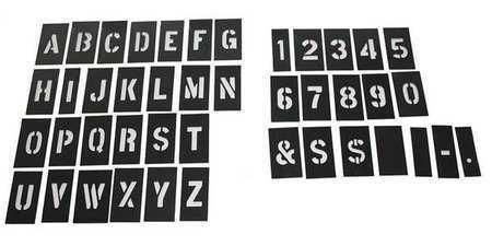 Zoro Select 20Y523 Stencil Numb&Ltr Kit 1In Plastic 138Pcs