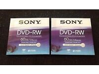2 x SONY DVD-RW Re-recordable Double-sided 60 min/2.8GB