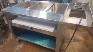 BRAND NEW STEAM TABLE WITH ATTACHED HAND FAUCET