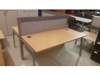 Four Persons Office Desk, Beech Effect Desks with Red Partition Dividers.