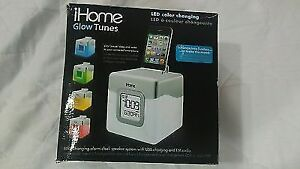 iHome IHM28W2 Color Changing Alarm Clock FM Radio with USB Charg