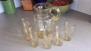 Vintage Amber Lemonade Pitcher with 6 Tumblers