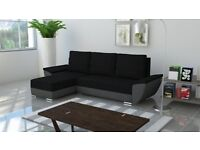 New Corner Sofa Bed With 2 Storage in BLACK GREY Strong Fabric Free Delivery
