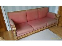 3 PIECE SUITE - SOFA & 2 CHAIRSIN CORAL UPHOLSTERY AND HARD WOOD FRAME