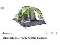 Hi Gear Gobi Elite 4 Family Tent. Excellent Condition!!