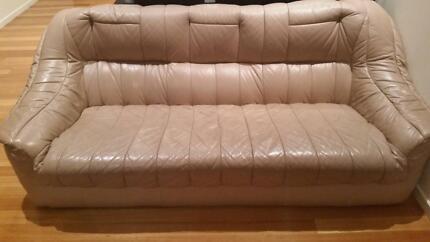 5 Seater Leather Lounge Suite (3x Piece)