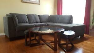 Grey Oakdale microsuede sectional couch