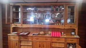 Two piece embellished maple china cabinet