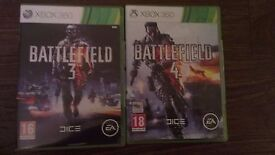Battlefield 3 and 4 for Xbox 360 - first person shooter games