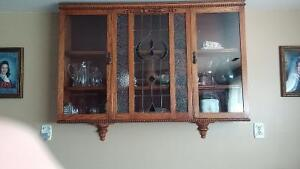 Wall Cupboard with stained/leaded glass