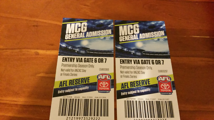 AFL 2017 premiership MCG  4 X general admission tickets