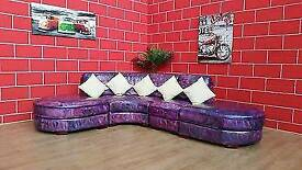 LEATHER CORNER SOFA GOOD CONDITION DELIVERY POSSIBLE MIXED COLOURS MODERN