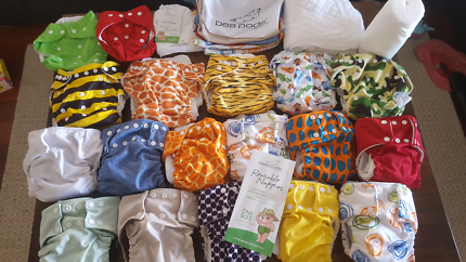18 Modern Cloth Nappies including peapod