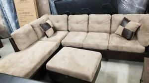 INVENTORY CLEARANCE SALE FABRIC BIG SECTIONAL JUST FOR $549 WITH FREE OTTOMAN