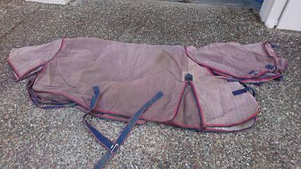 "Assorted 5'6"" rugs, hoods,  reins and padded brown pony bridle"