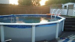 Above ground 18 foot pool with heater