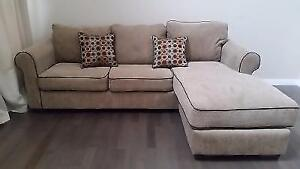 2 pieces brown sectional sofa (microfiber corduroy)