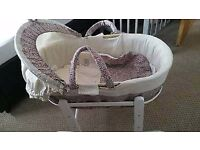Mamas and Papas Liberty Print Moses Basket and Rocking Stand Hardly Used As New including bedding