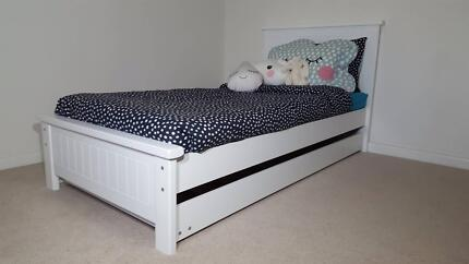WHITE KING SINGLE BED AND TRUNDLE - SALE PRICE - AUST MADE