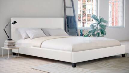 [Brand New] PU Leather (White) Queen Size Bed Frame. Delivery