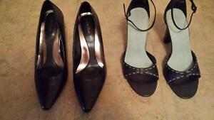 Calvin Klein black leather pumps & Spring open toe heels Cornwall Ontario image 1