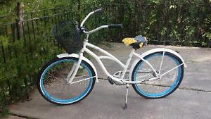 White and Blue Ladies Cruiser Bicycle