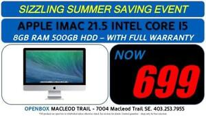 APPLE IMAC 21.5 INTEL CORE 2 DUO 8GB RAM 500GB HDD - With Full Warranty. OpenBox Macleod Sale!