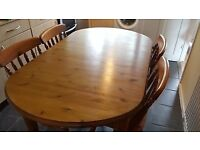pine farmhouse style kitchen dining table and 4 chairs