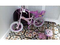 "Genuine Disney Princess 14"" bike, matching helmet and knee/elbow pads"