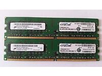 4GB (2X 2GB) PC2 RAM MEMORY SETS 6 AVAILABLE