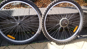 Mountain bike rims with new tyres