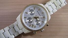 MICHAEL KORS WHITE AND GOLD WATCH - £75