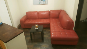 Beautiful Freedom GENUINE leather, red corner lounge RRP$3900. Craigie Joondalup Area Preview