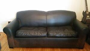 LEATHER COUCH -- PULLOUT BED -- SUPER CHEAP $99