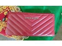 Karen Millen red leather quilted purse